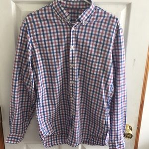 J crew purple and blue light weight plaid shirt